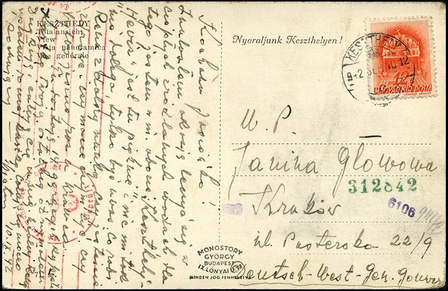 Postkarte aus polnische lager UNGARN nach Generalgouvernement - OKW Zensur 1940