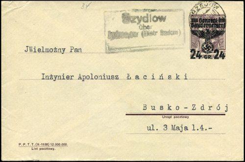 GG - KOPERTA Ck. 1 / Ganzsache Umschlag U1 Szydłów über Jędrzejów 1940