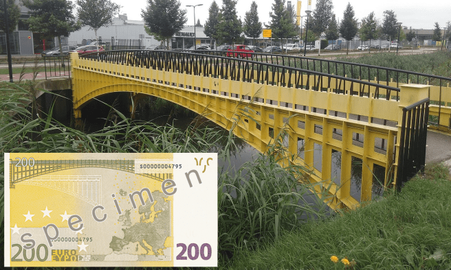 Spijkenisse bridge and 200 Euro banknote