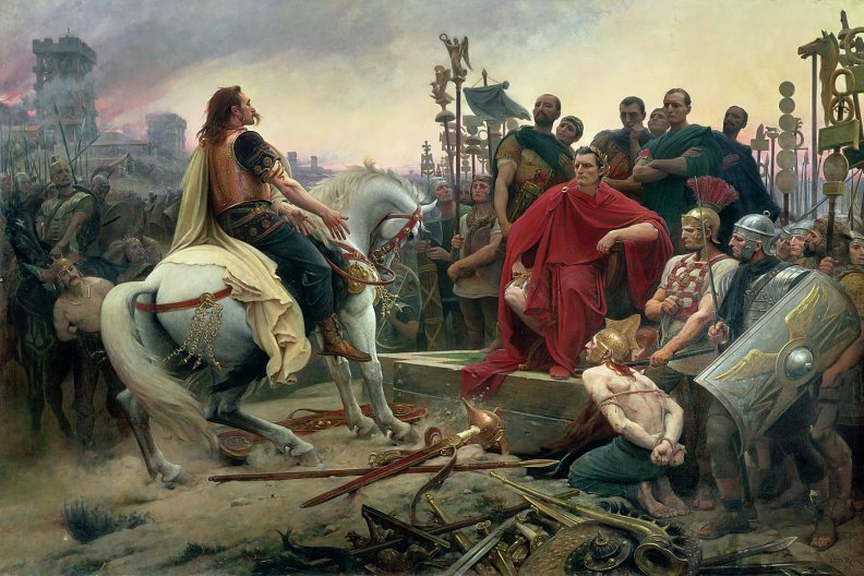 Vercingetorix lays down his arms in front of Caesar after the Siege of Alesia.