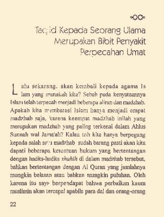 Al Bani Melarang Taqlid pada Madzhab
