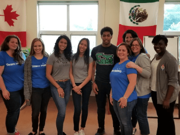 Full group of student finalists and volunteers at Juanita Sanchez Educational Complex.