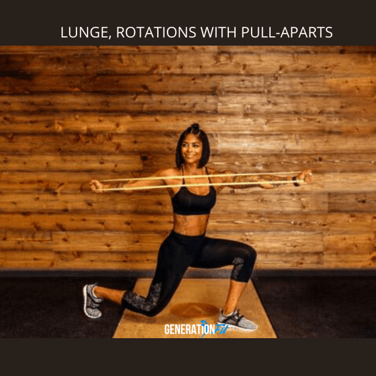 Performing Lunges And Rotations With Resistance Bands