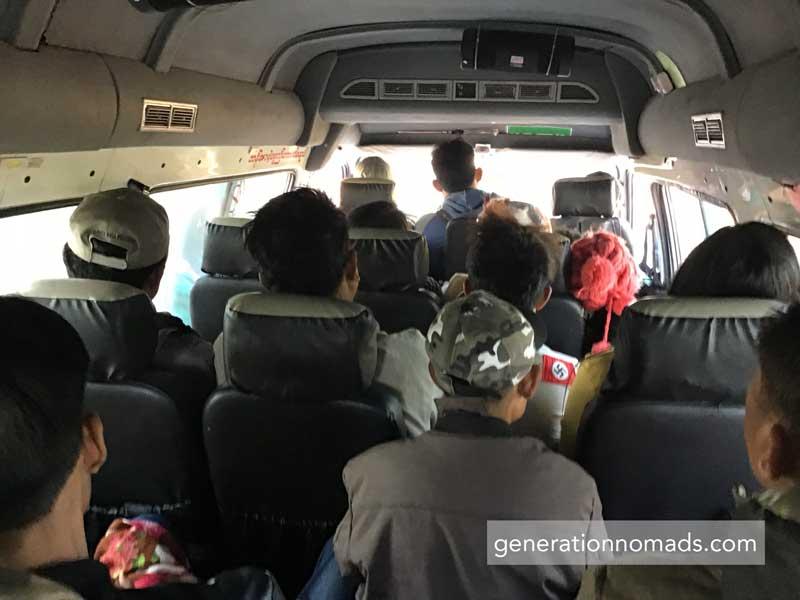 Bagan-Ngapali Bus overcrowded