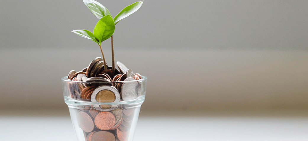 Coins in a cup with a plant inside depicting entry-level salaries