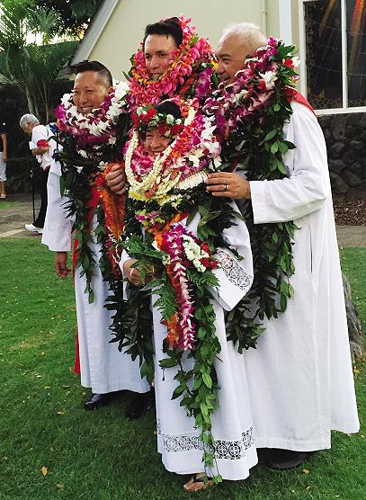 "(L–R) Phyllis Mahilani ""Mahi"" Beimes (in front, among the lei), L-R: Malcolm Keleawe, Paul Nahoa Lucas, John Hau'oli Tomoso, Episcopal Deacons"