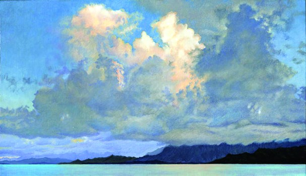 Sunset over Kualoa, oil on canvas, by Gregory Pai