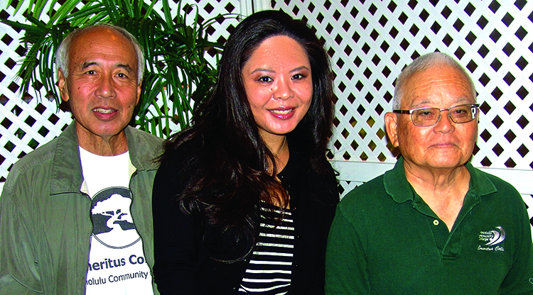 Honolulu Community College's Emeritus College offers non-credit classes for seniors and folks nearing retirement: (L–R) Myron Yamashiro, Farah Doiguchi and Ed Yonemoto.