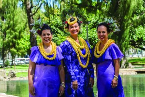 The 2017 Lei Queen and Court (from left): First Princess Pauline Leinā'ala Robello, Queen Perle Puamōhala Kaholokula and Princess Ada Kalikokalehua Cooke. Photo by Dave Miyamoto