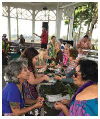Visitors learn lei-making in Hilo