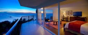 Beach view from an Aruba Marriott guest room terrace
