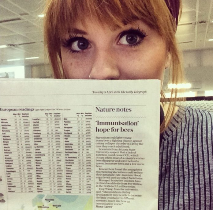 Hana with her Natures Notes column
