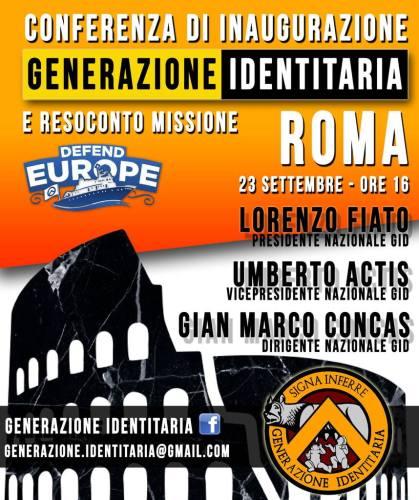 GID Roma conferenza inaugurazione sezione Defend Europe