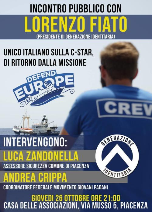 GID Lorenzo Fiato incontro Defend Europe Piacenza