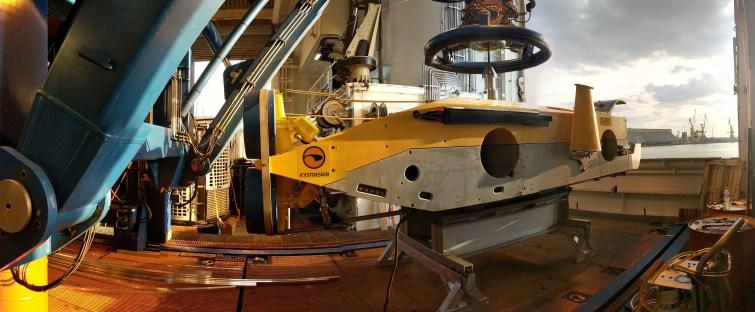 Surveyor ROV on Havila Subsea's deck ready to be deployed. This ROV had laser scanners, sidescan sonar, swath multibeam and UHD photogrammetric cameras mounted. Photo Rodrigo Pacheco-Ruiz