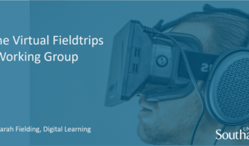 A man wearing a virtual realty headset with the caption Join the Virtual Fieldtrips Working Group.