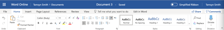 Screenshot of Word 365 toolbar showing the dictate button.
