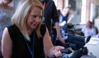 Attendee trying out a camera