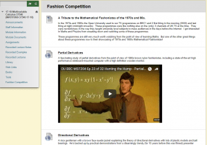Screenshot of OU lectures from Multivariable Calculus Blackboard site