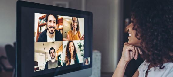 Group of people having a video conference.