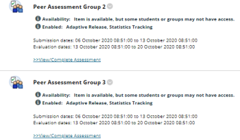 Four self and peer assignments, each using adaptive release rules.