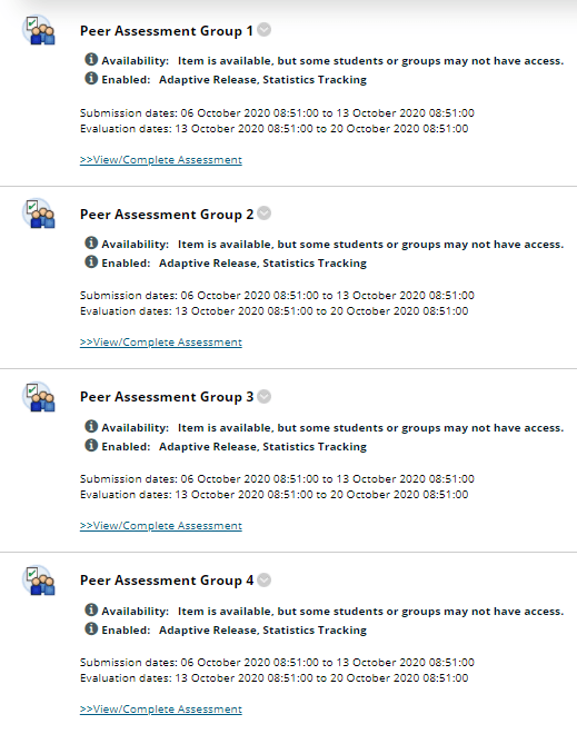 Four self and peer assignments, each using adaptive release rules
