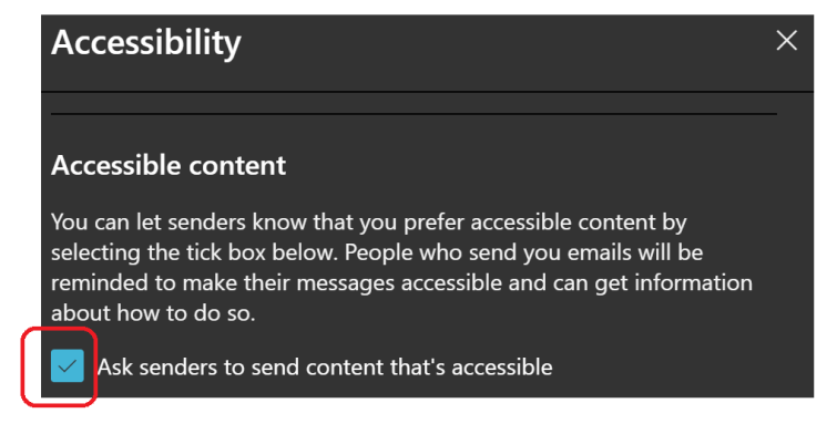 Screenshot taken from outlook web based email.  I've ticked the box to ask for accessible content.
