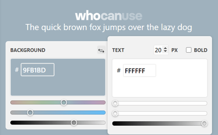 Whocanuse.com website with two colours, white (Hex code #FFFFFF) and grey (Hex code #9FB1BD)