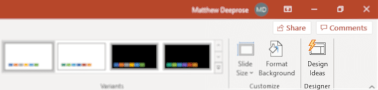 Design Ideas button within the PowerPoint user interface.