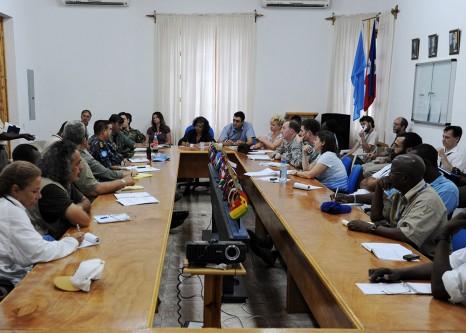 International aid worker meeting