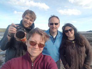 From L-R: Joe Brett (Media Developer), Sarah Fielding (Learning Designer), Martin Solan (Academic Lead), Christina Wood (PhD Student and Content Developer for MOOC)