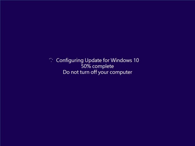 Windows 10 update screen