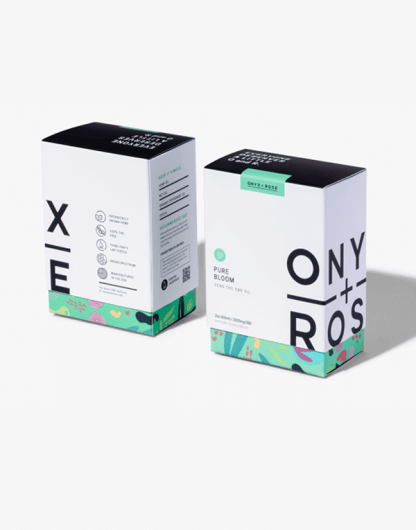 Pure Bloom Mint Broad Spectrum CBD Oil by Onyx & Rose boxes