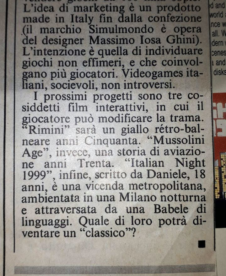 "An article on Italian magazine L'Espresso from 1989 mentioning ""interactive movies"" Mussolini Age and Italian Night 1999."