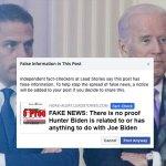 Facebook, Twitter fact-checkers halt vicious lies that Hunter Biden is related to Joe Biden