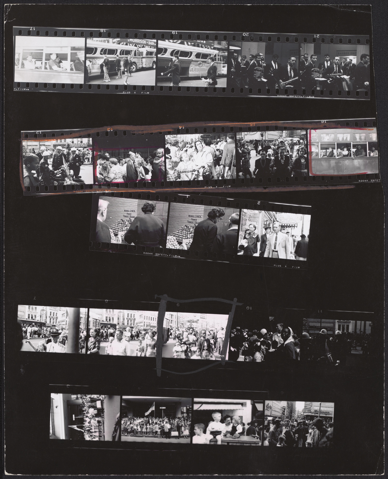 Robert Frank, Guggenheim 340/Americans 18 and 19—New Orleans, November 1955, 1955; contact sheet; 10 x 8 1/16 in.; National Gallery of Art, Washington, Robert Frank Collection, gift of Robert Frank; © Robert Frank