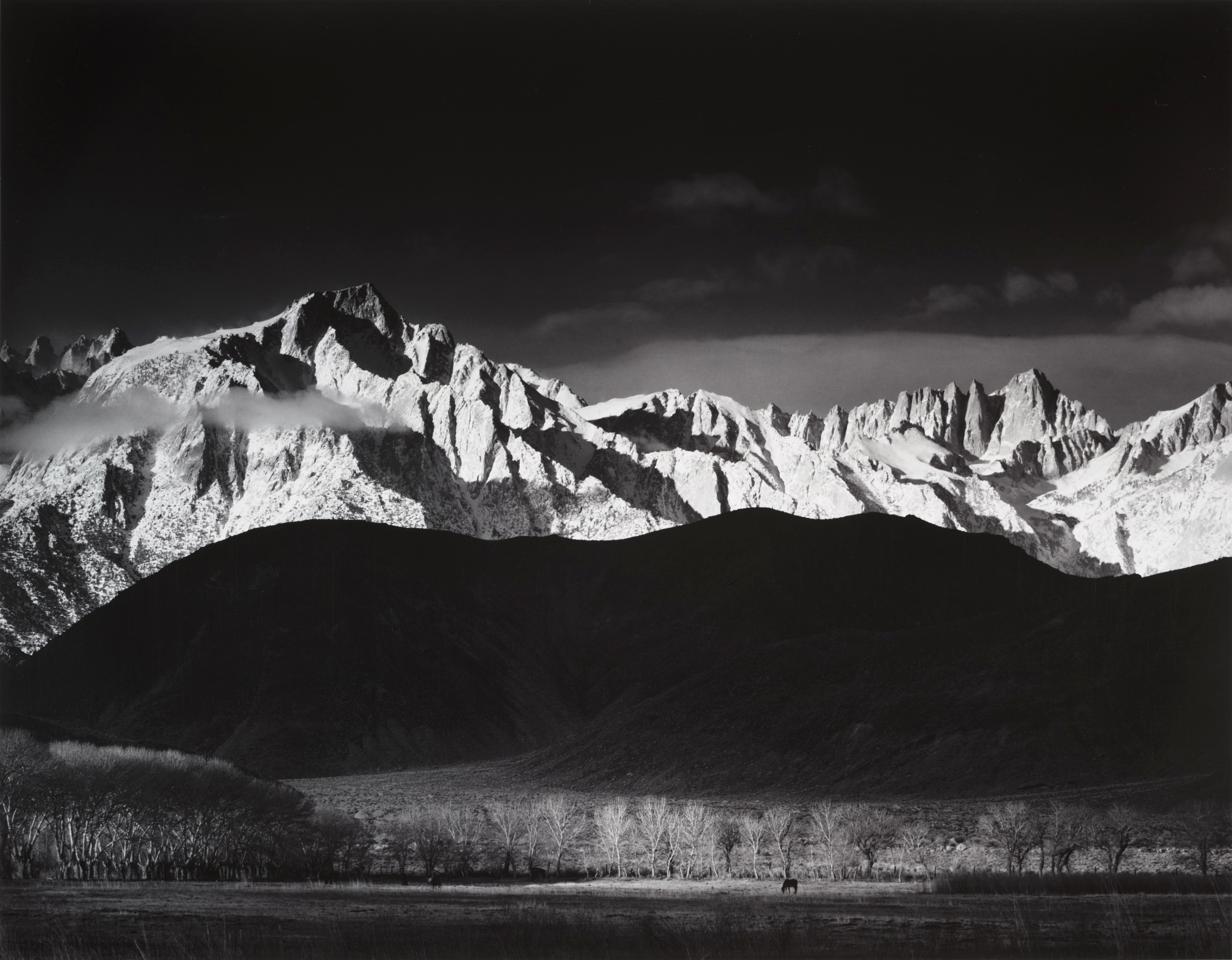 Ansel Adams, Winter Sunrise, the Sierra Nevada from Lone Pine, California, 1944; gelatin silver print; 15 5/8 x 19 1/4 in. (39.7 x 48.9 cm); Collection of the Center for Creative Photography, University of Arizona; © 2009 The Ansel Adams Publishing Rights Trust