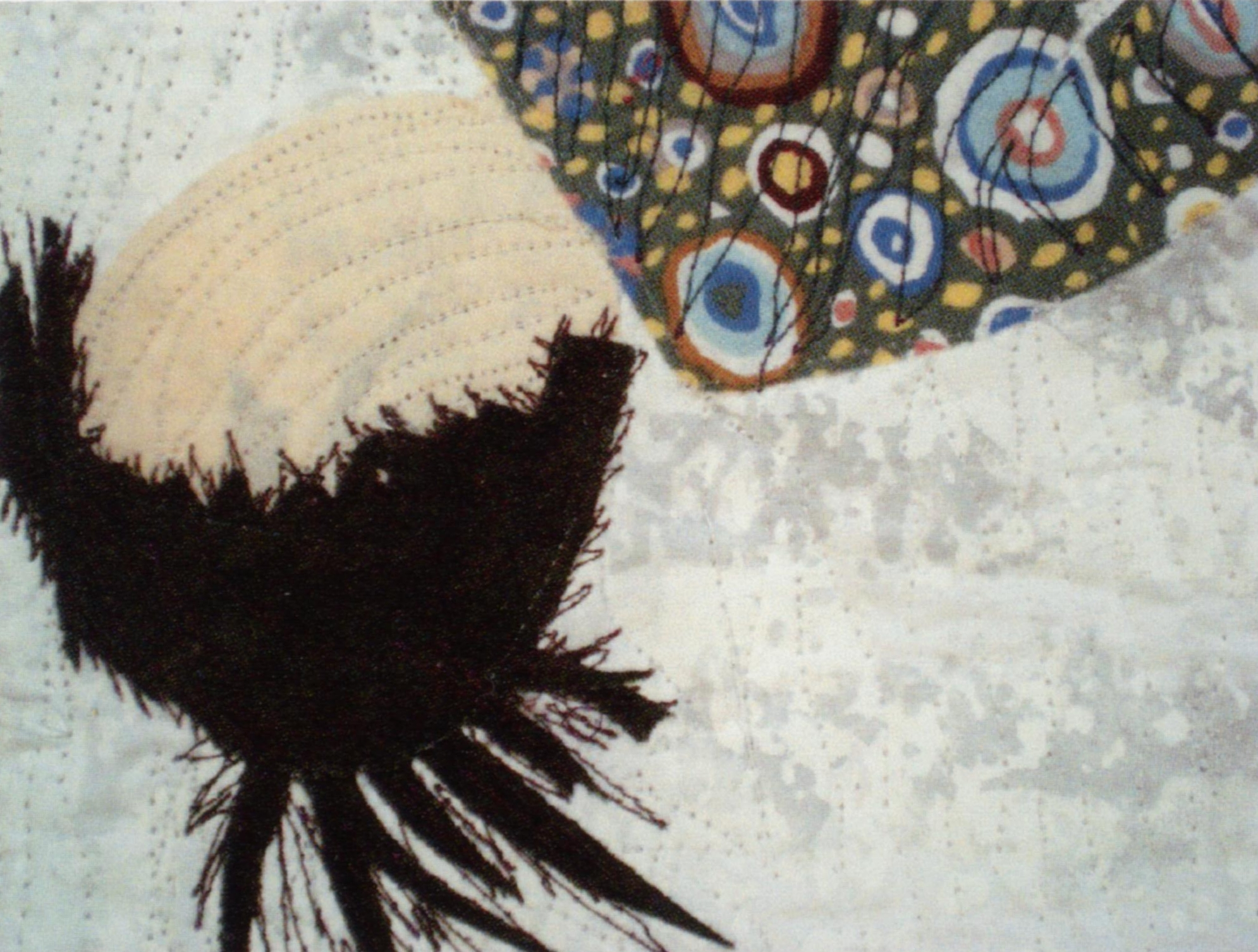 """detail, """"Why I dropped Out of College,"""" 2008, 36""""x 49"""", commerical fabrics, screen-printed fabrics, Angelina fibers."""