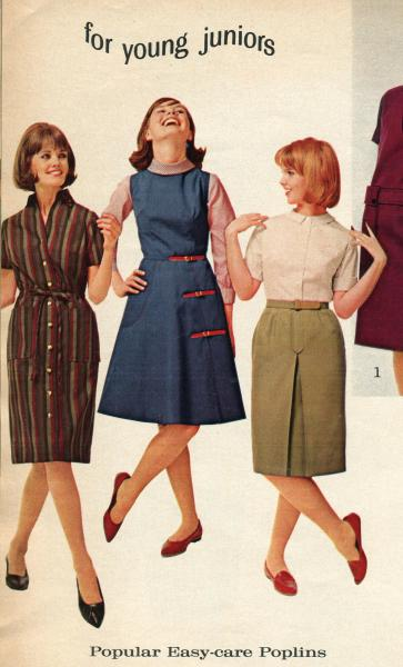 1960s   The Clothing We Wore   Geneva Historical Society Geneva     Image from a catalog of three young ladies  Two are wearing dress and one is