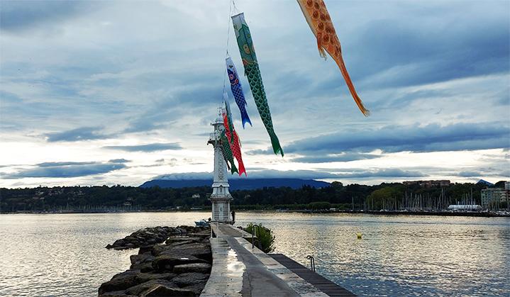 koi nobori installés sur la jetée, lac au petit matin