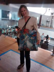 My friend and art patron Francine wearing my Hope Floats bag she bought last year. What a wonderful supporter. Thank you for coming too!