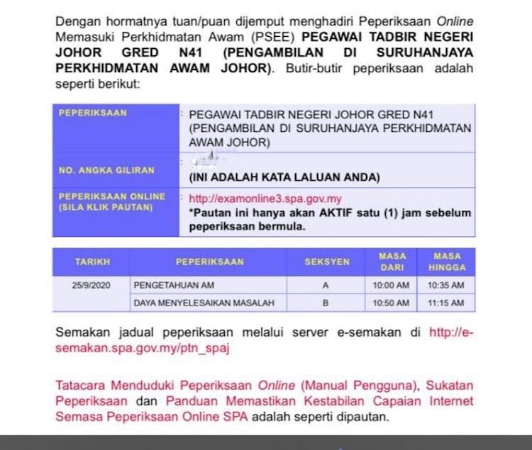 Pegawai Tadbir Negeri Johor Gred N41 Pengambilan Di Suruhanjaya Perkhidmatan Awam Johor