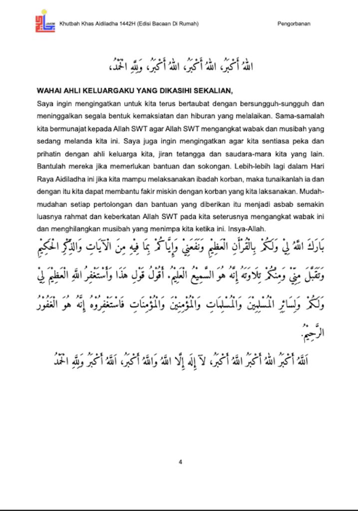 Khutbah Raya Haji di rumah 5