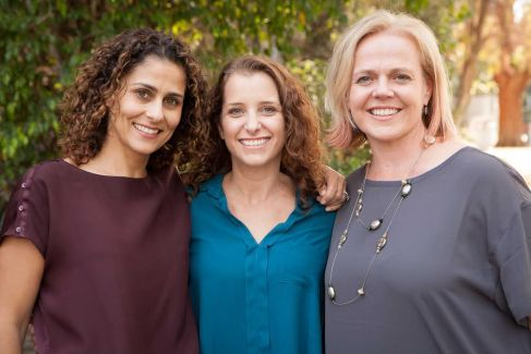 Janelle (R) with her co-founders Carolyn (L) and Joanna (C).