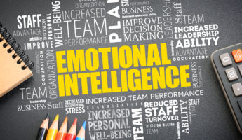 Emotional intelligence word cloud on the desk, business concept background