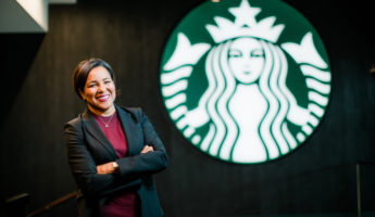 Roz Brewer, Starbucks chief operating officer and group president, is shown at the SSC in Seattle on Wednesday, May 16, 2018.  (Joshua Trujillo, Starbucks)