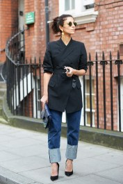 belted blazer, jeans and a pair of pumps