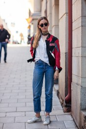 vintage jacket, sneakers from Adidas, blouse from A.Nordin, vintage Levi's jeans and vintage sunglasses