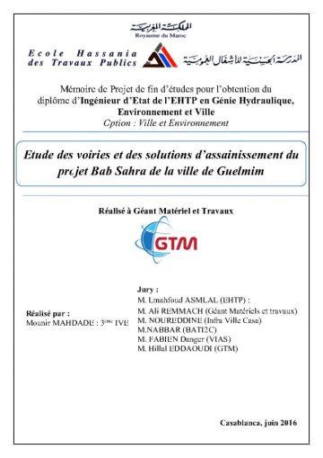 PFE : Etude des voiries et des solutions d'assainissement du projet Bab Sahra