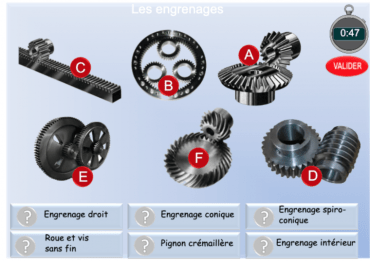 Les types d'engrenages. Exercices de vocabulaire technique